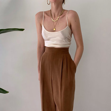 Vintage Caramel Silk Pleated Pants (27-29W)
