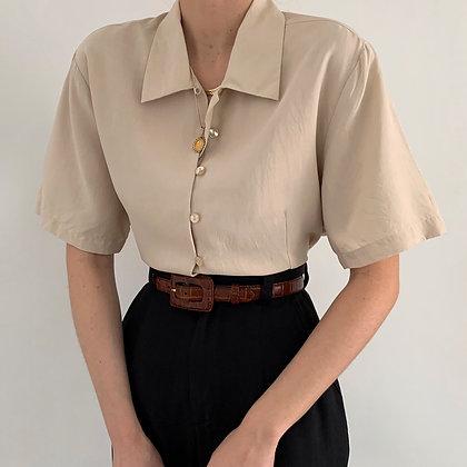 Vintage Bone Silk Button Up Blouse