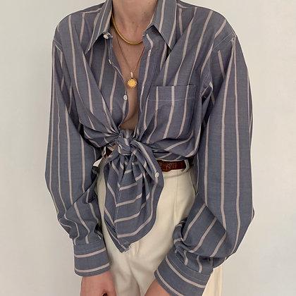 Vintage Dior Steel Blue Striped Button Up