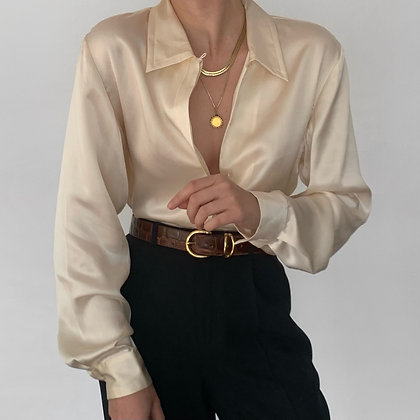 Deadstock Vintage Ivory Silk Charmeuse Blouse