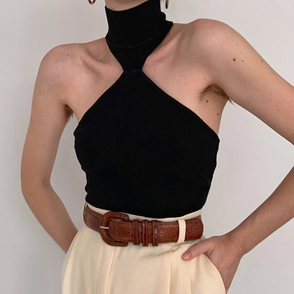 Vintage Onyx Knit Halter Top