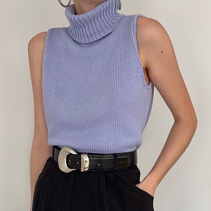 Vintage Lilac Knit Sleeveless Turtleneck