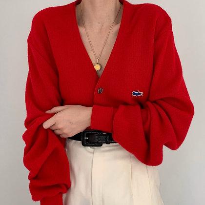 Vintage Lacoste Poppy Red Knit Cardigan
