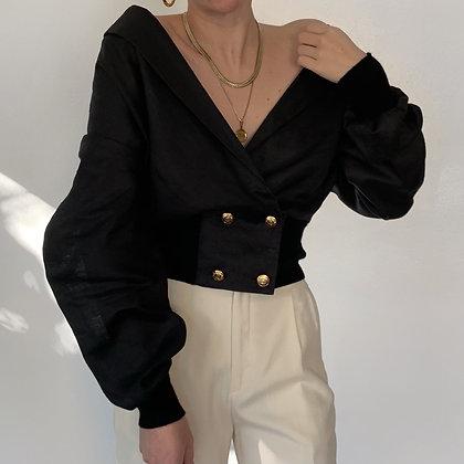 Vintage Noir Linen Double-Breasted Blouse