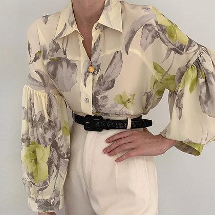 Favorite Vintage Cream Floral Silk Blouse