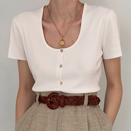 Vintage White Buttoned Ribbed Shirt