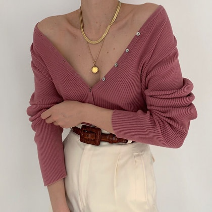 Vintage Rose Ribbed Knit Cardigan