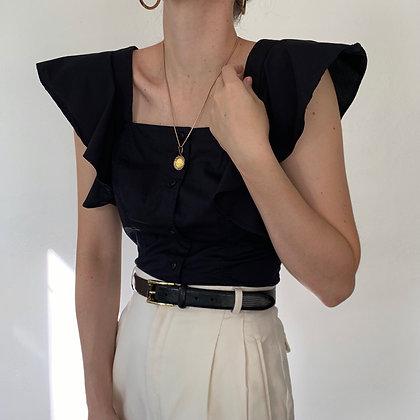 Favorite Vintage Armani Noir Flutter Sleeve Blouse