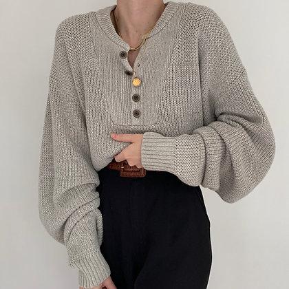 Vintage Cloud Knit Henley Sweater