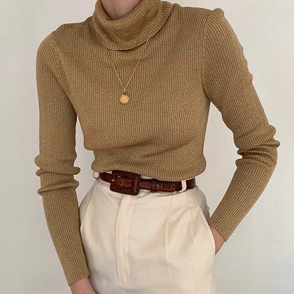 Vintage Ralph Lauren Gold Ribbed Turtleneck