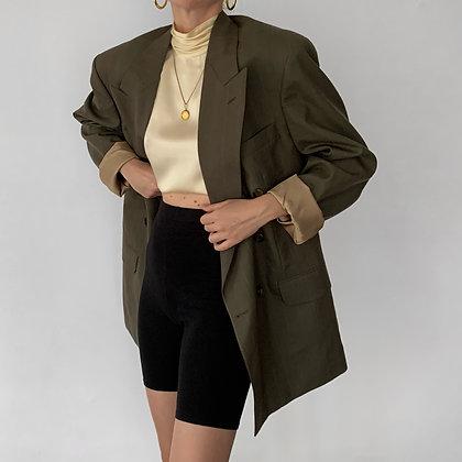 Vintage Oscar de la Renta Olive Pinstriped Blazer