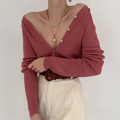 Vintage Rose Silk Ribbed Knit Cardigan