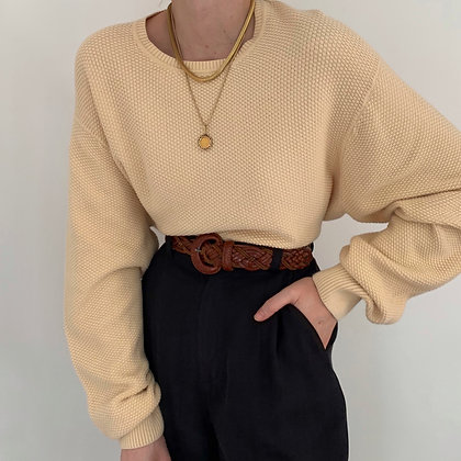 Vintage Buttercream Knit Pullover Sweater