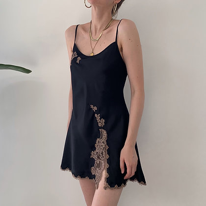 Vintage VS Noir Satin Lacy Slip Dress