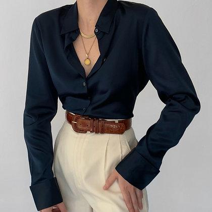 Vintage Midnight Silk Charmeuse Blouse