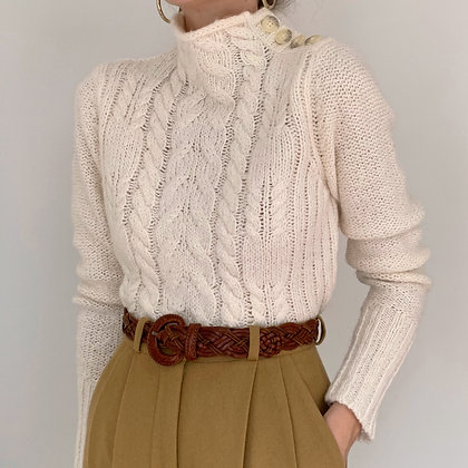 Vintage Cream Mock Neck Knit Sweater