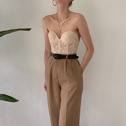 Vintage Camel Silk High-Waisted Trousers (28W)