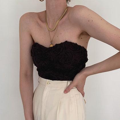 Vintage Noir Rosette Ruched Bustier Style Top