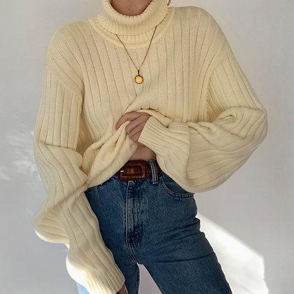Vintage Buttercream Turtleneck Sweater