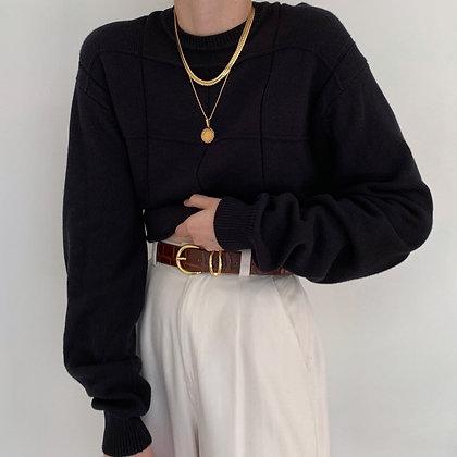 Vintage Onyx Grid Knit Sweater