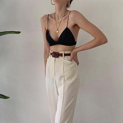 Vintage Ivory Wool High-Waisted Trousers (24W)