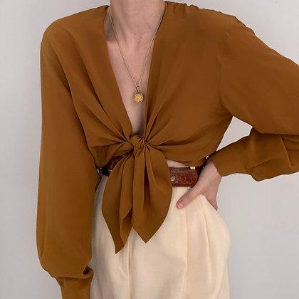 Vintage Cinnamon Silk Button Up Blouse