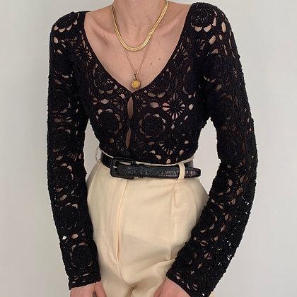 Rare Vintage Noir Crochet Knit Cardigan