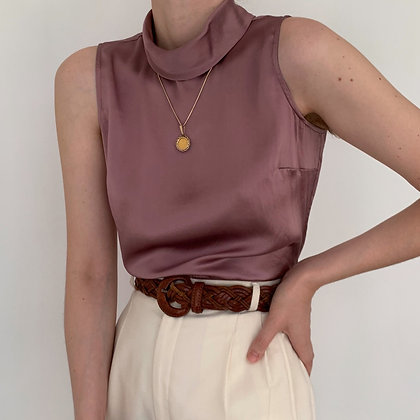 Vintage Mauve Silk Sleeveless Mock Neck