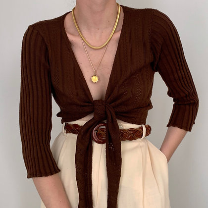 Vintage Chocolate Knit Wrap Top