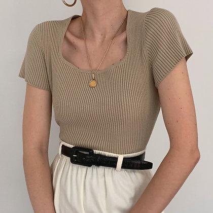 Vintage Taupe Silk Blend Ribbed Shirt