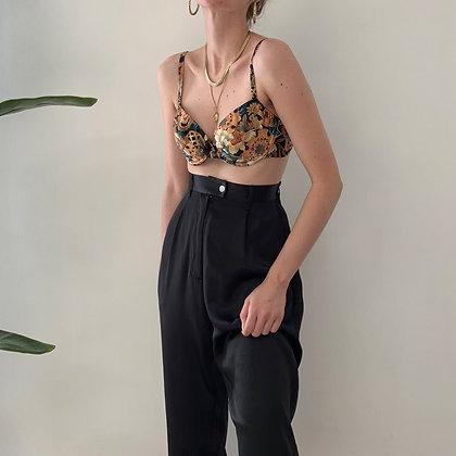 Rare Vintage Noir Silk Trousers (26-28W)