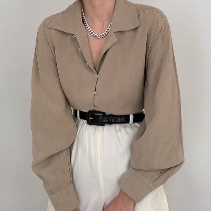 Vintage Sand Silk Button Up Blouse