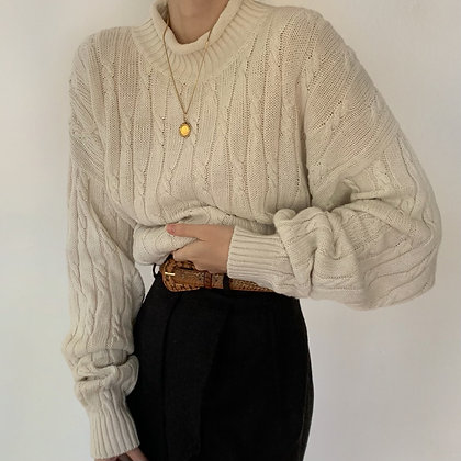 Vintage Bone Rolled Neck Cable Knit Sweater