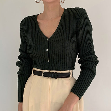 Vintage Forest Green Ribbed Knit Cardigan