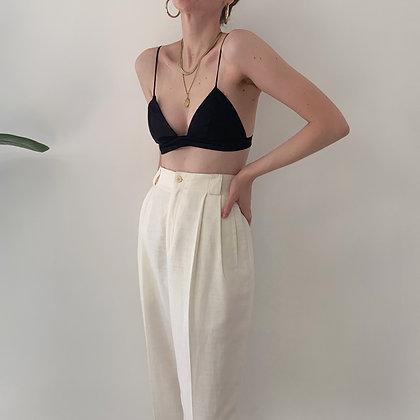 Deadstock Vintage Creme Linen Trousers (27W)