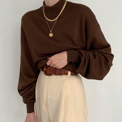 Vintage Coffee Knit Mock Neck Sweater