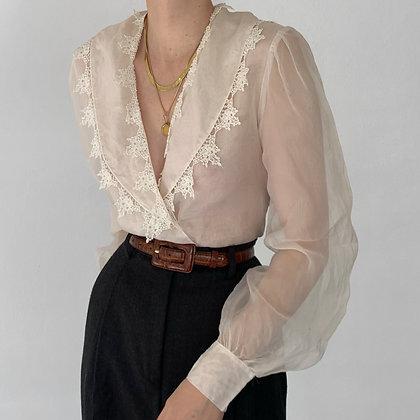 Rare Vintage Snow Silk Organza Collared Top