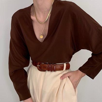 Vintage Michael Kors Chocolate Silk Blouse