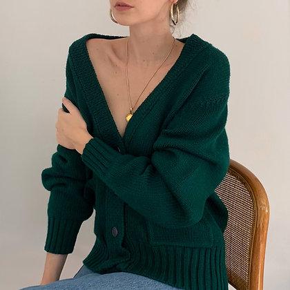Vintage Evergreen Knit Cardigan