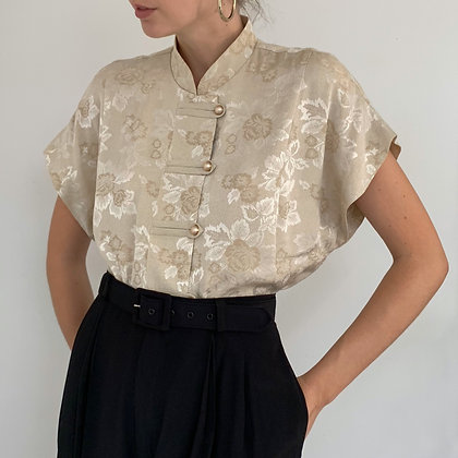 Vintage Beige Floral Mandarin Tunic