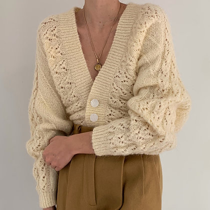 Vintage Ivory Fuzzy Knit Cardigan