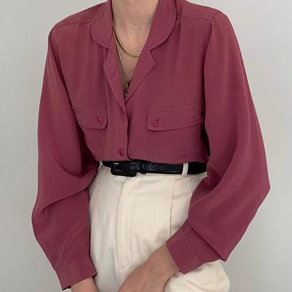 Vintage Rose Silk Button Up Blouse
