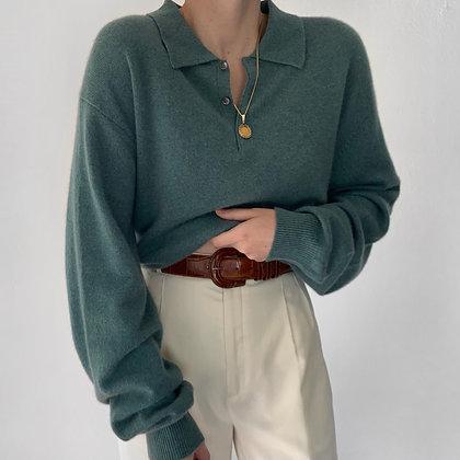 Vintage Ocean Cashmere Knit Polo