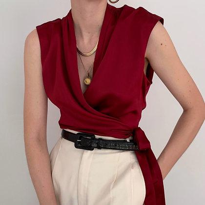 Vintage Ruby Silk Charmeuse Wrap Top