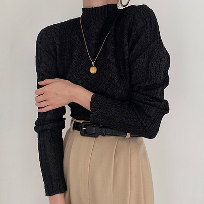 Vintage Noir Textured High Neck Top