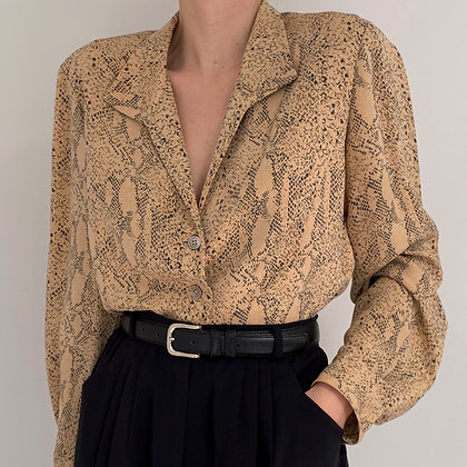 Vintage Snakeskin Print Silk Blouse