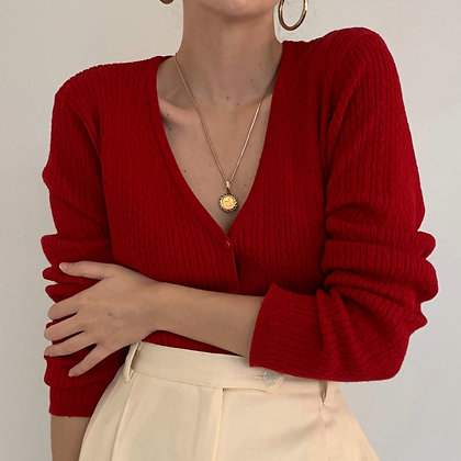 Vintage Scarlet Red Cable Knit Cardigan