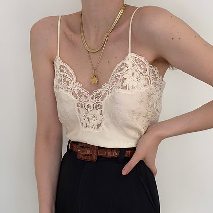Deadstock Vintage Ivory Silk Lacy Camisole