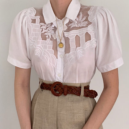 Vintage White Greek Motif Puff Sleeve Blouse