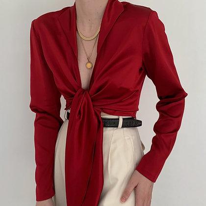 Vintage Lafayette 148 Ruby Silk Wrap Blouse
